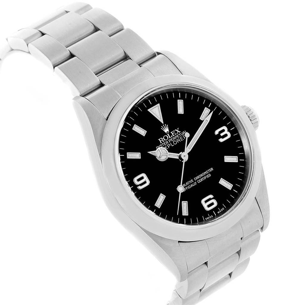 Rolex explorer i luminescent arabic numbers steel mens watch 114270 for Luminescence watches