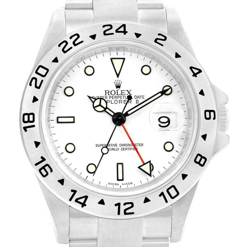 Rolex Explorer II 40 Parachrom Hairspring White Dial Mens Watch 16570 SwissWatchExpo