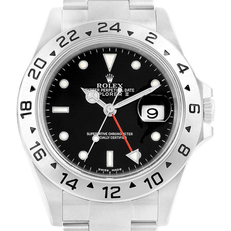 Rolex Explorer II 40 Black Dial Red Hand Steel Mens Watch 16570 SwissWatchExpo