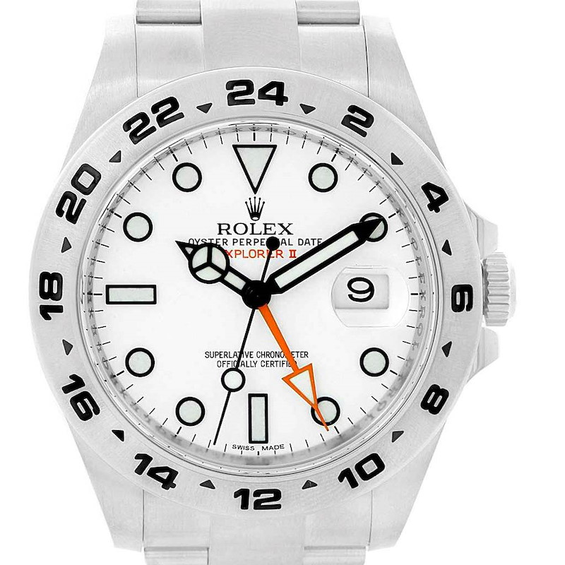 Rolex Explorer II 42mm White Dial Steel Mens Watch 216570 Box Card SwissWatchExpo