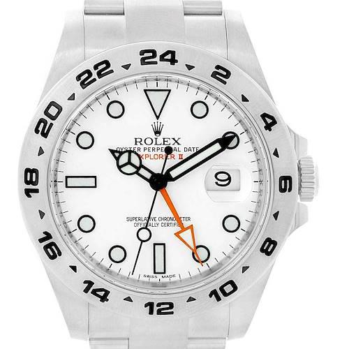 Photo of Rolex Explorer II 42mm White Dial Steel Mens Watch 216570 Box Card