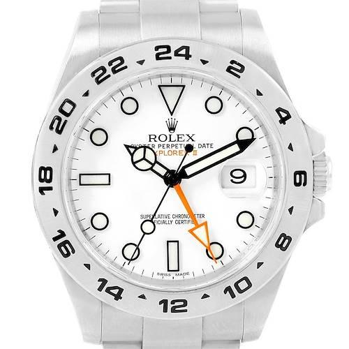 Photo of Rolex Explorer II 42 Orange Hand Steel Mens Watch 216570 Box Card