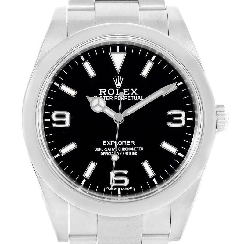 Rolex Explorer I 39 Luminescent Arabic Numbers Steel Mens Watch Box Card SwissWatchExpo