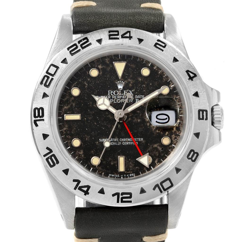 Rolex Explorer II Transitional Tropical Dial Steel Mens Watch 16550 SwissWatchExpo