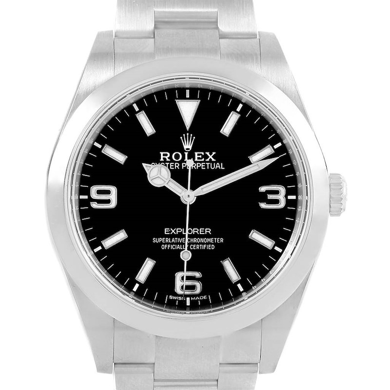 Rolex Explorer I 39mm Steel Automatic Mens Watch 214270 Box Card SwissWatchExpo