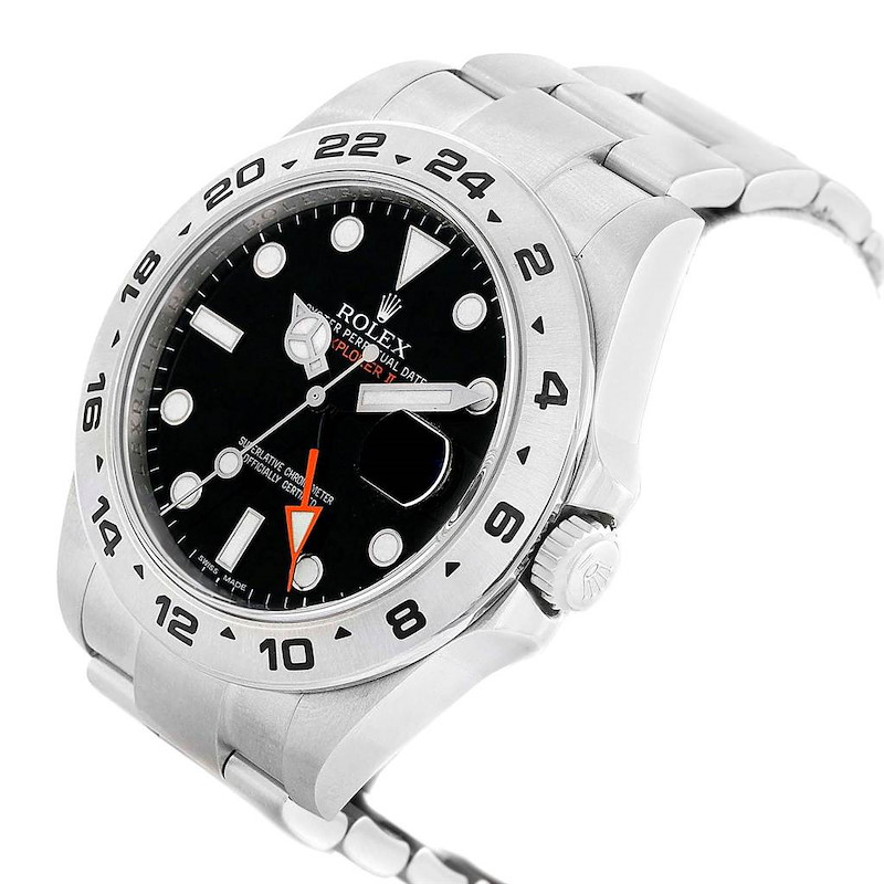 Rolex Explorer II 42mm Black Dial Orange Hand Mens Watch 216570 SwissWatchExpo
