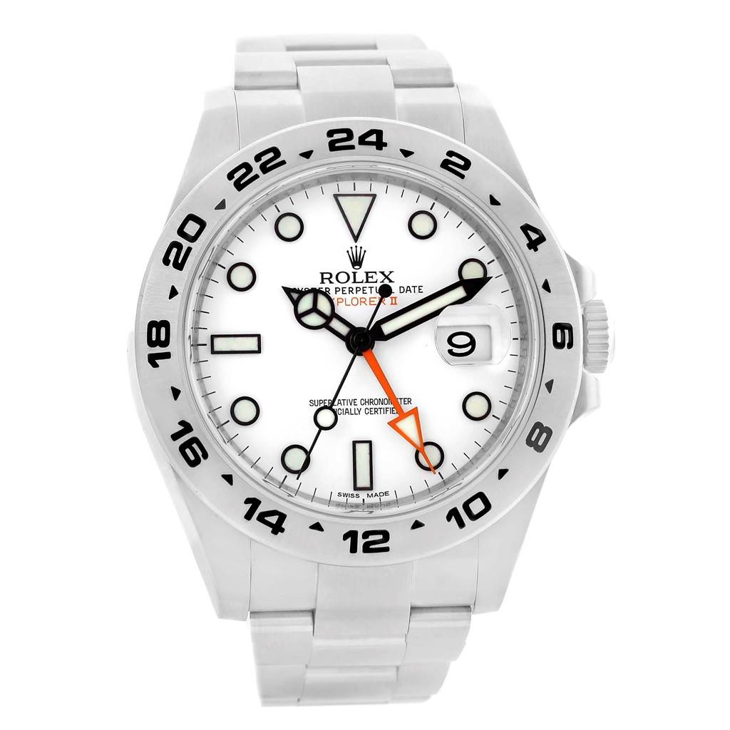 Rolex Explorer II 42 White Dial Orange Hand Steel Mens Watch 216570 SwissWatchExpo