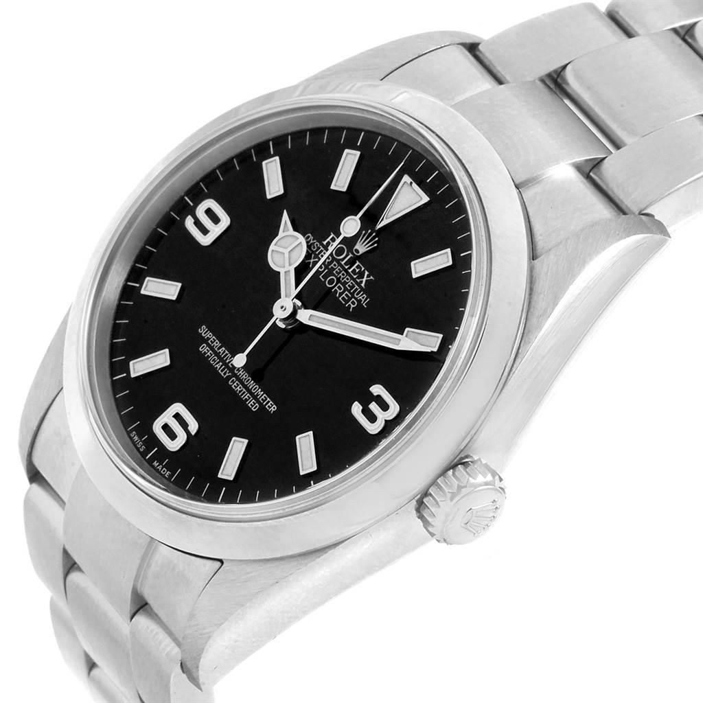 20735 Rolex Explorer I Luminescent Arabic Numbers Steel Mens Watch 114270 SwissWatchExpo