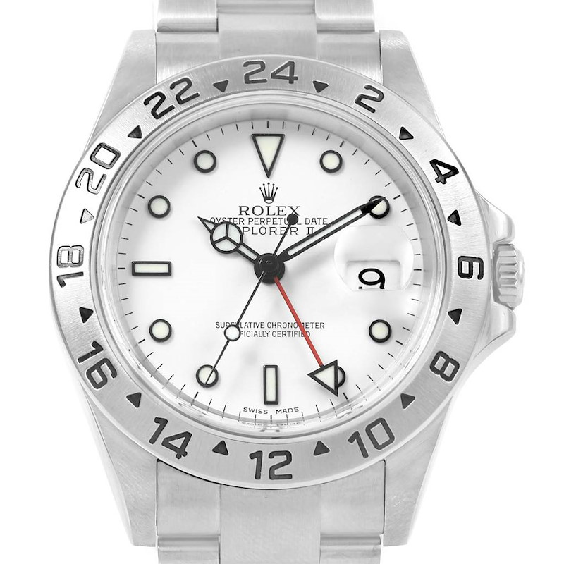 Rolex Explorer II White Dial Red Hand Steel Watch 16570 Box SwissWatchExpo