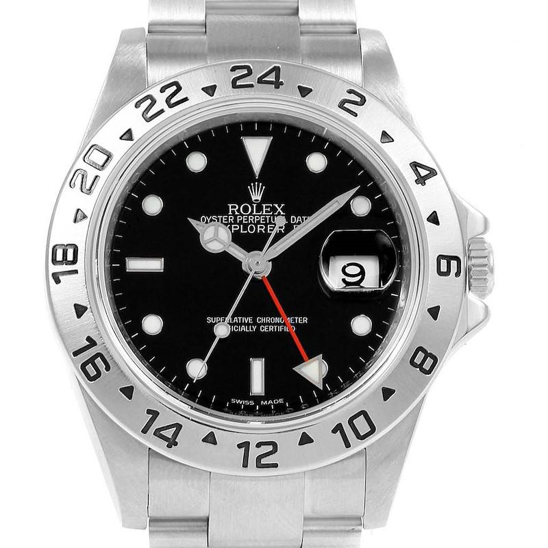 Rolex Explorer II Black Dial Parachrom Hairspring Steel Mens Watch 16570 SwissWatchExpo