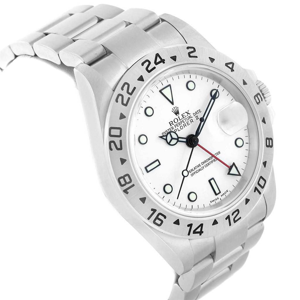 21085 Rolex Explorer II White Dial Red Hand Steel Mens Watch 16570 SwissWatchExpo