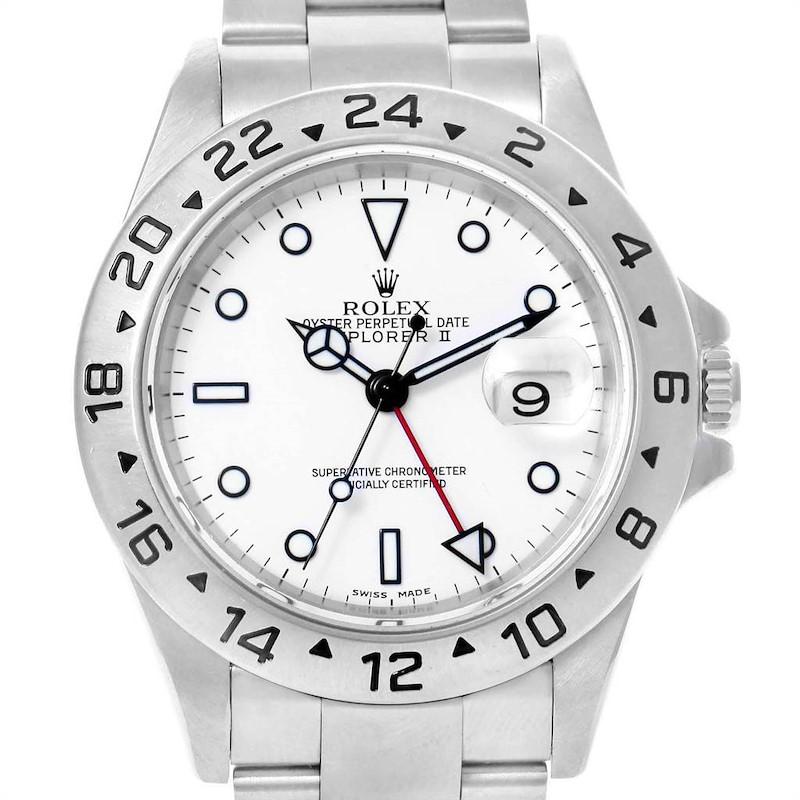Rolex Explorer II 40mm White Dial Red Hand Mens Watch 16570 SwissWatchExpo