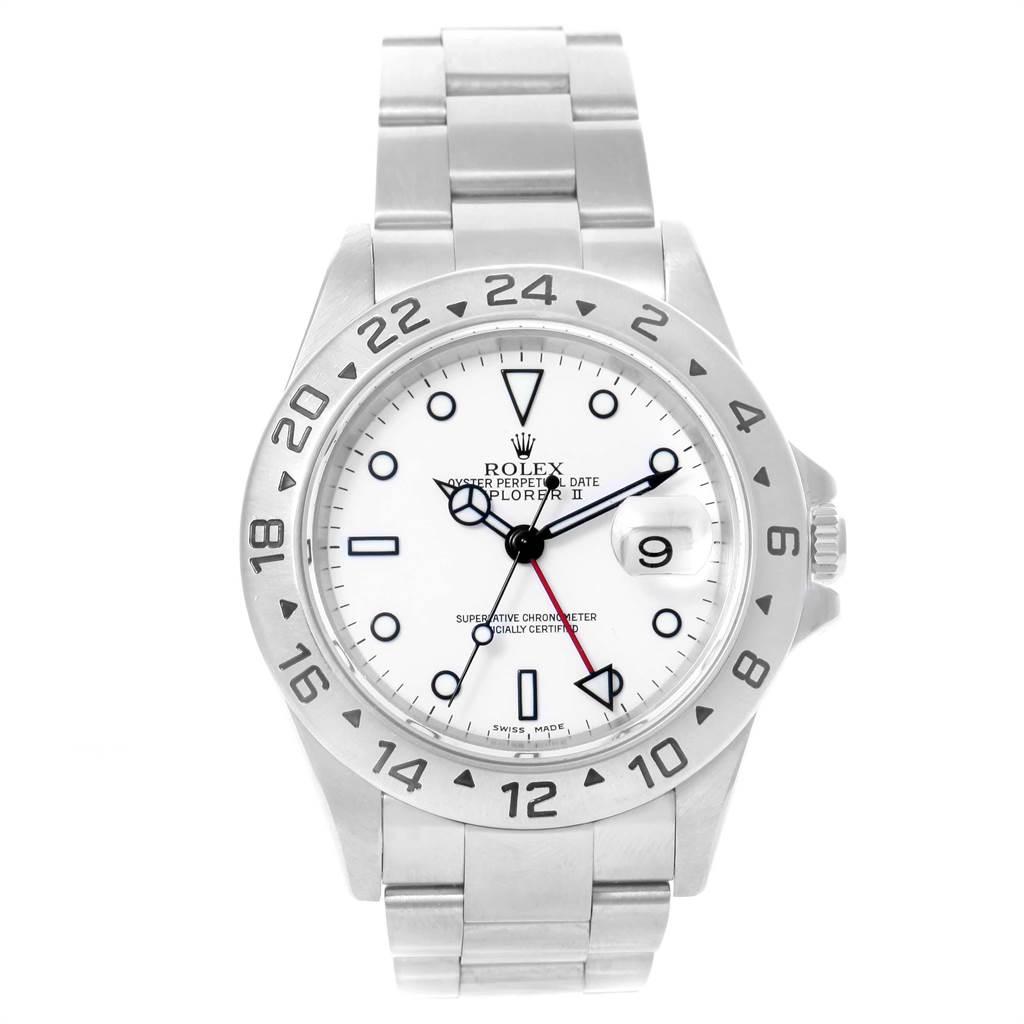 21704 Rolex Explorer II 40mm White Dial Red Hand Mens Watch 16570 SwissWatchExpo