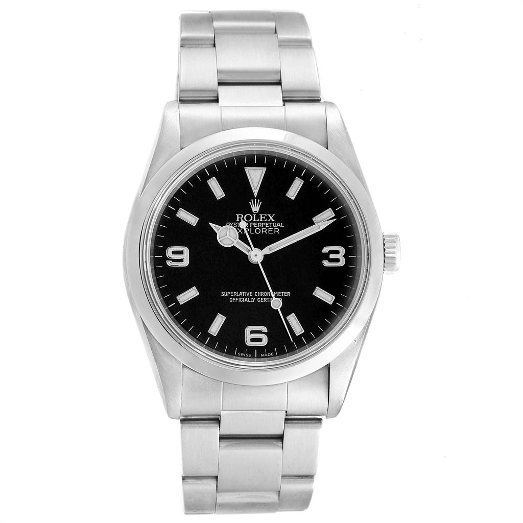 Rolex Explorer I 36 Black Dial Stainless Steel Mens Watch 14270 SwissWatchExpo