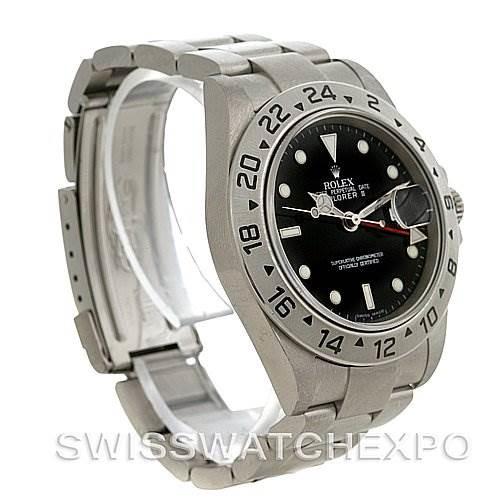 Rolex Explorer II 16570 Mens Stainless Steel Black Dial Watch SwissWatchExpo