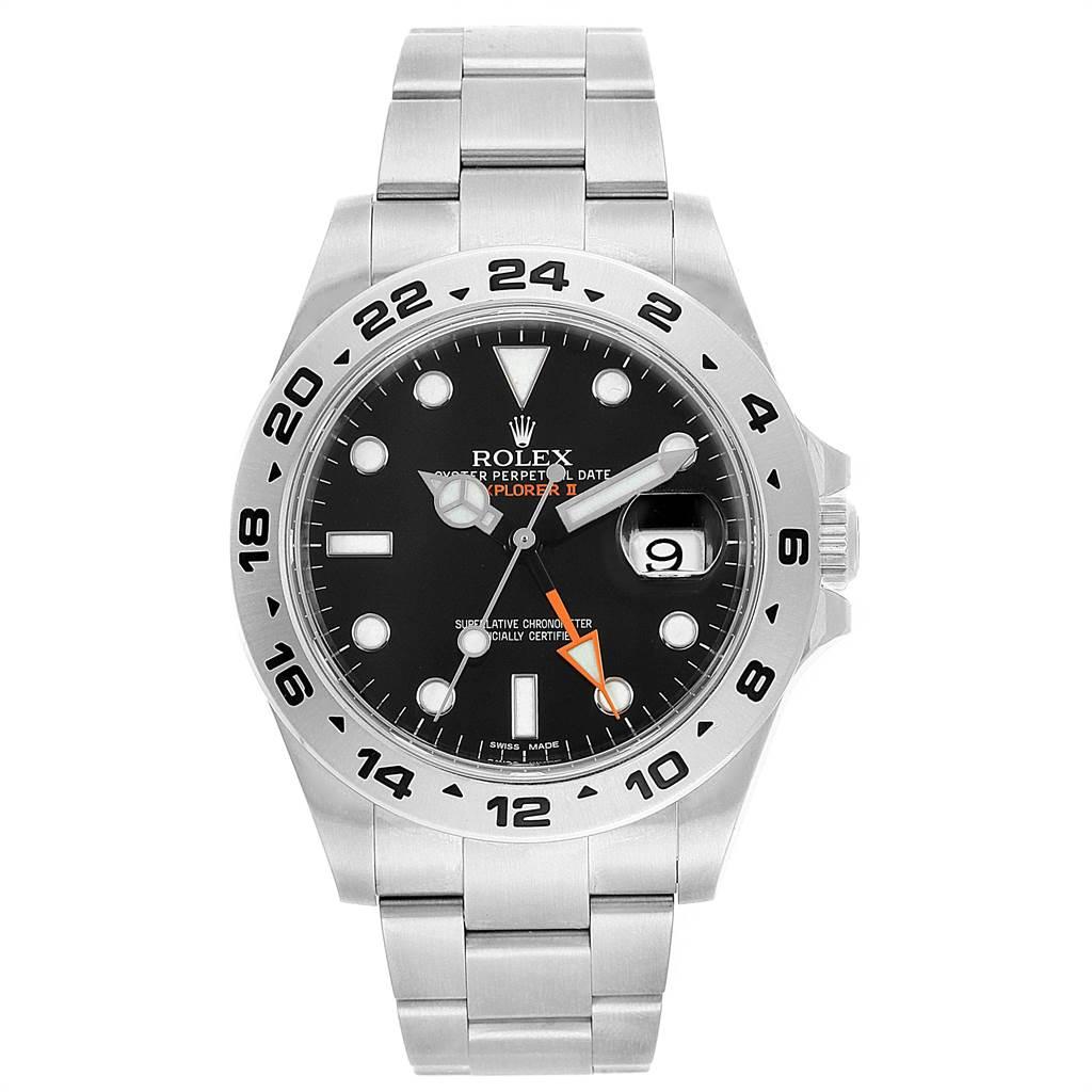 22254 Rolex Explorer II 42mm Black Dial Orange Hand Mens Watch 216570 SwissWatchExpo