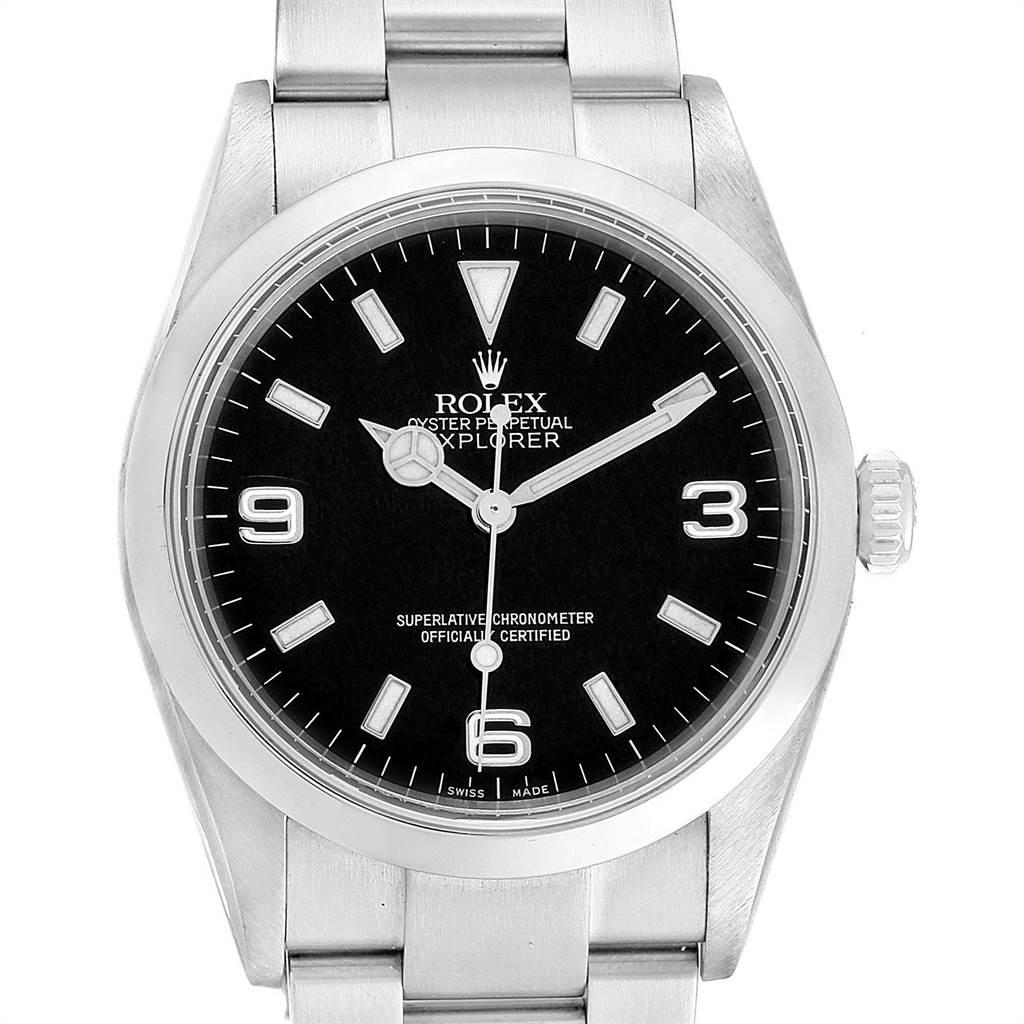 Rolex Explorer I Luminescent Arabic Numerals Steel Mens Watch 114270 SwissWatchExpo