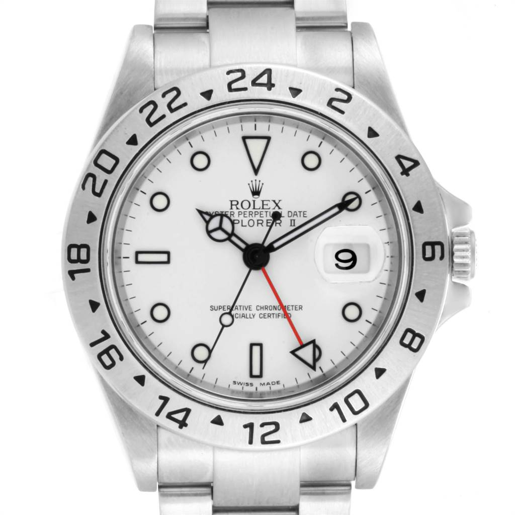 Rolex Explorer II White Dial Red Hand Steel Mens Watch 16570 Box SwissWatchExpo