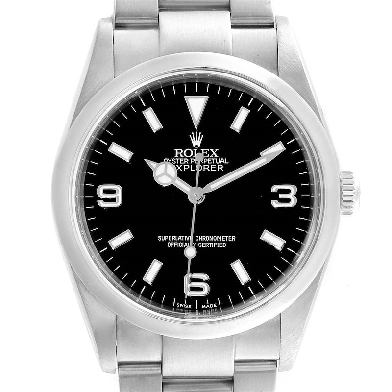 Rolex Explorer I Luminescent Arabic Numbers Steel Mens Watch 114270 SwissWatchExpo