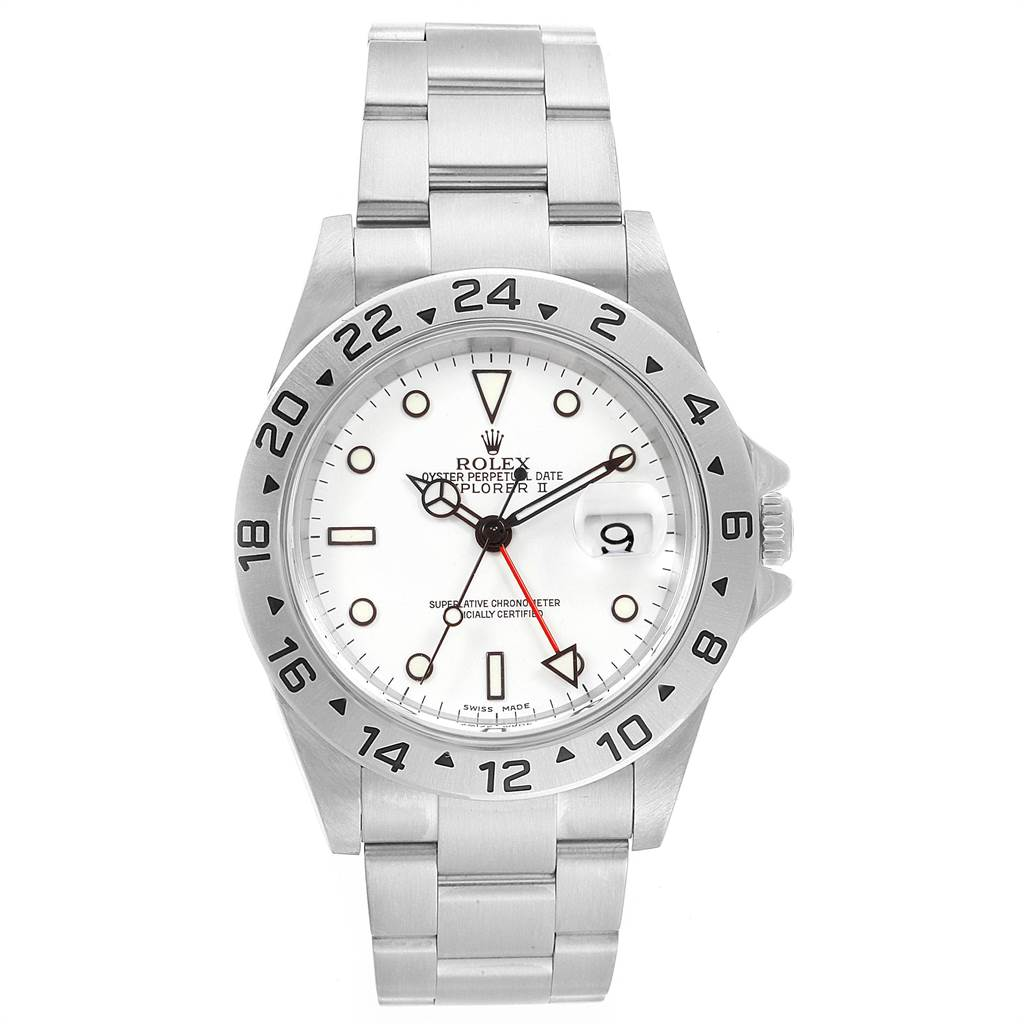 23196 Rolex Explorer II White Dial Red Hand Steel Mens Watch 16570 SwissWatchExpo