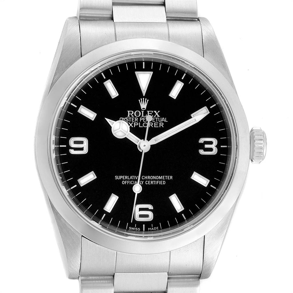 23198 Rolex Explorer I 36mm Black Dial Automatic Steel Mens Watch 14270 SwissWatchExpo