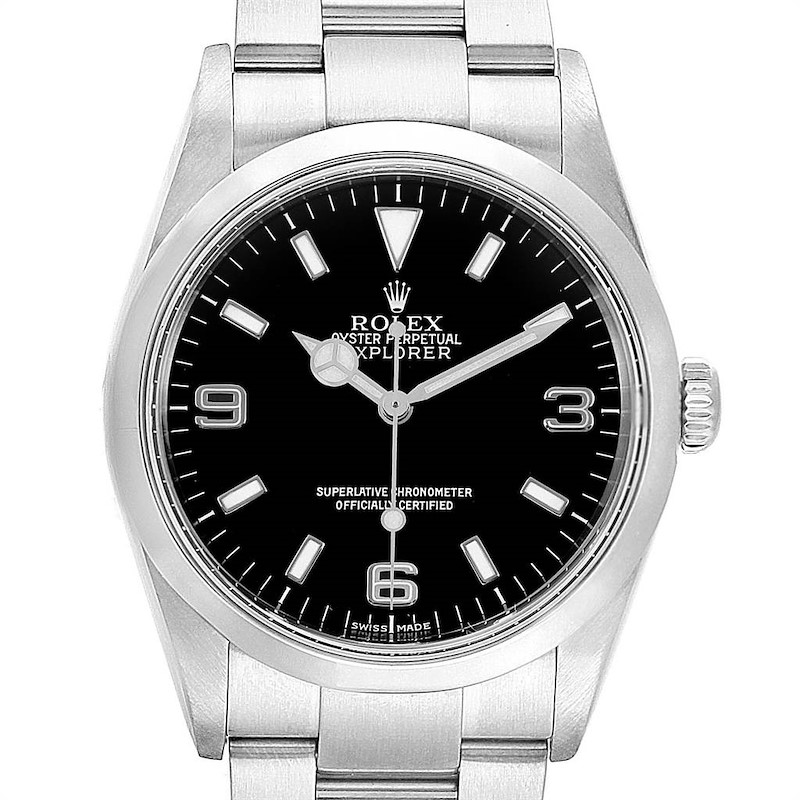 Rolex Explorer I 36mm Rehault Engraved Bezel Steel Mens Watch 114270 SwissWatchExpo