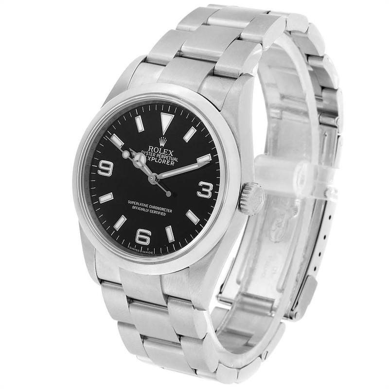 Rolex Explorer I 36mm Rehault Engraved Bezel Steel Mens Watch 114270 SwissWatchExpo