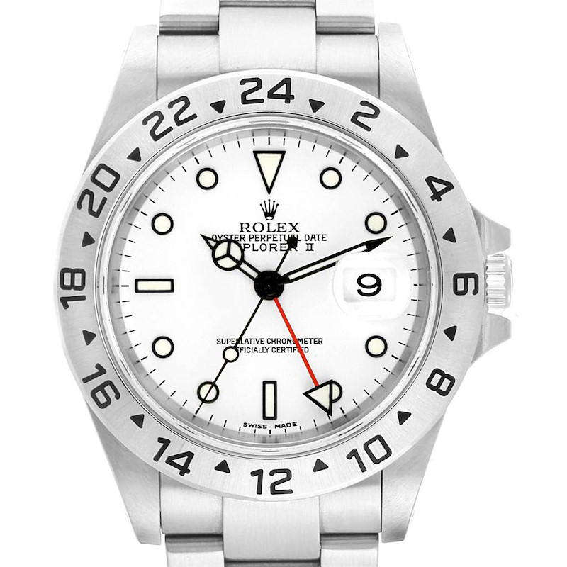 Rolex Explorer II 40mm White Dial Red Hand Mens Watch 16570 Box Papers SwissWatchExpo