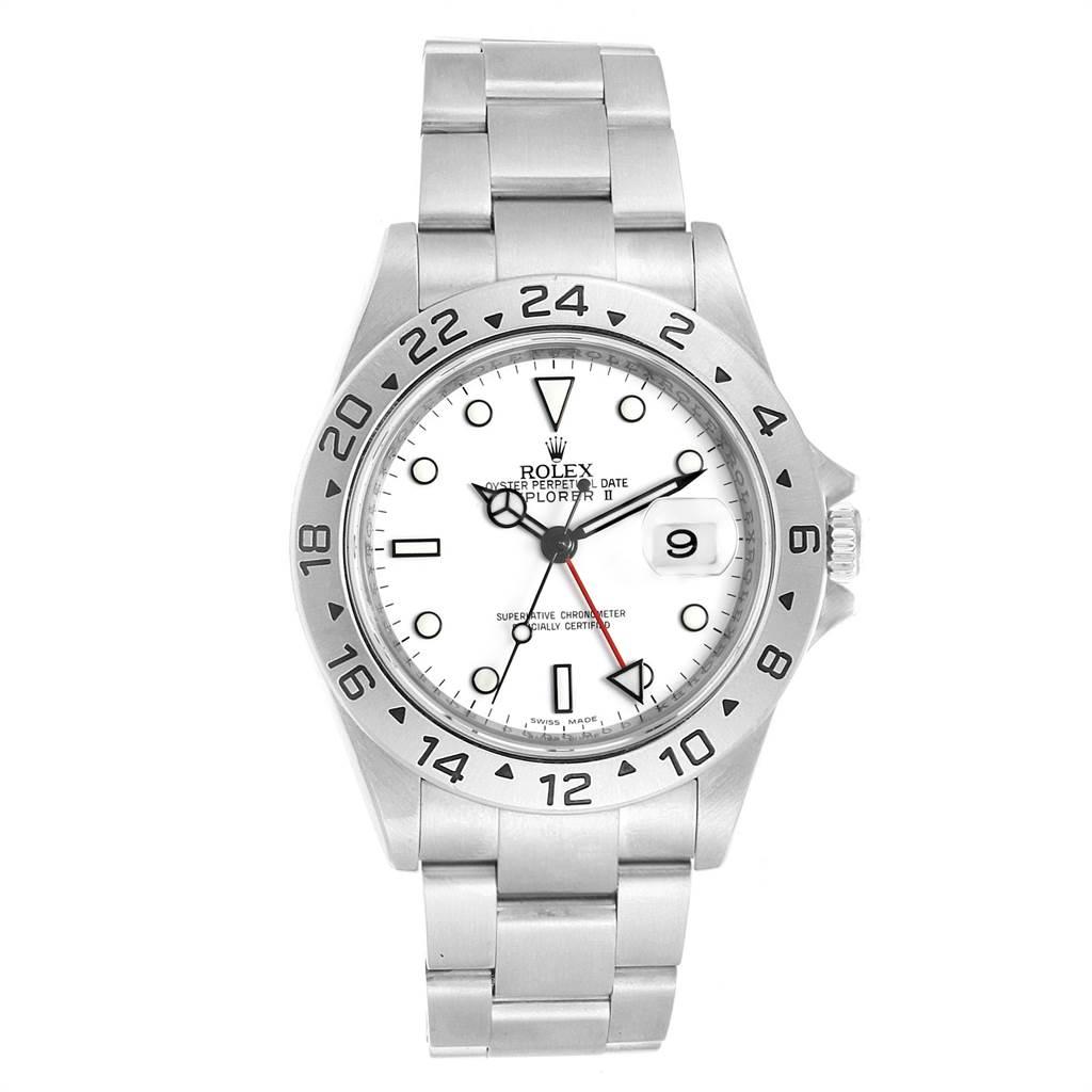 Rolex Explorer II White Dial Parachrom Hairspring Mens Watch 16570 SwissWatchExpo
