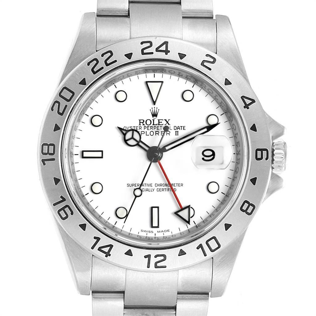23415 Rolex Explorer II White Dial Parachrom Hairspring Mens Watch 16570 SwissWatchExpo
