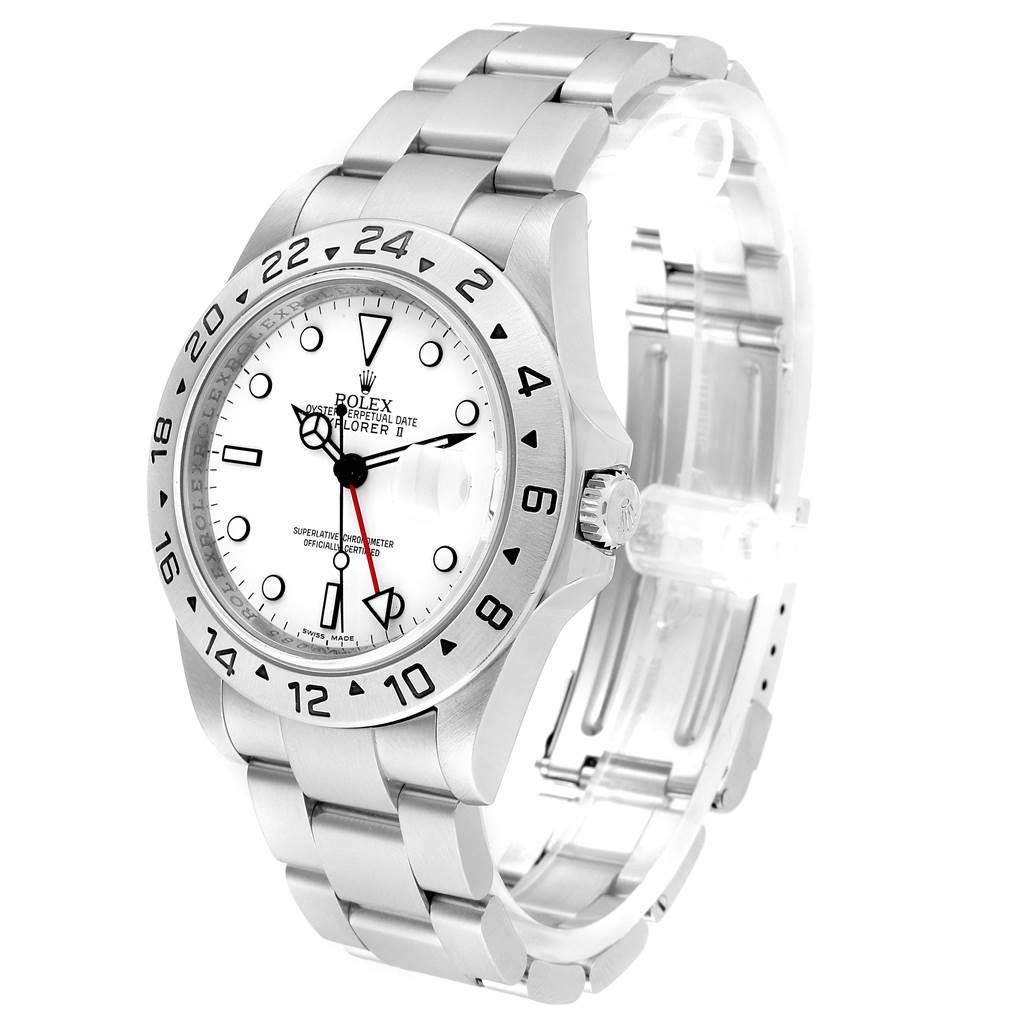 23426 Rolex Explorer II White Dial Parachrom Hairspring Mens Watch 16570 SwissWatchExpo
