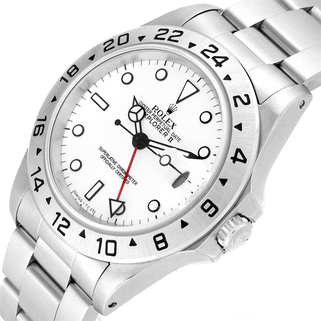Rolex Explorer II White Dial Red Hand Steel Mens Watch 16570 Box Papers SwissWatchExpo