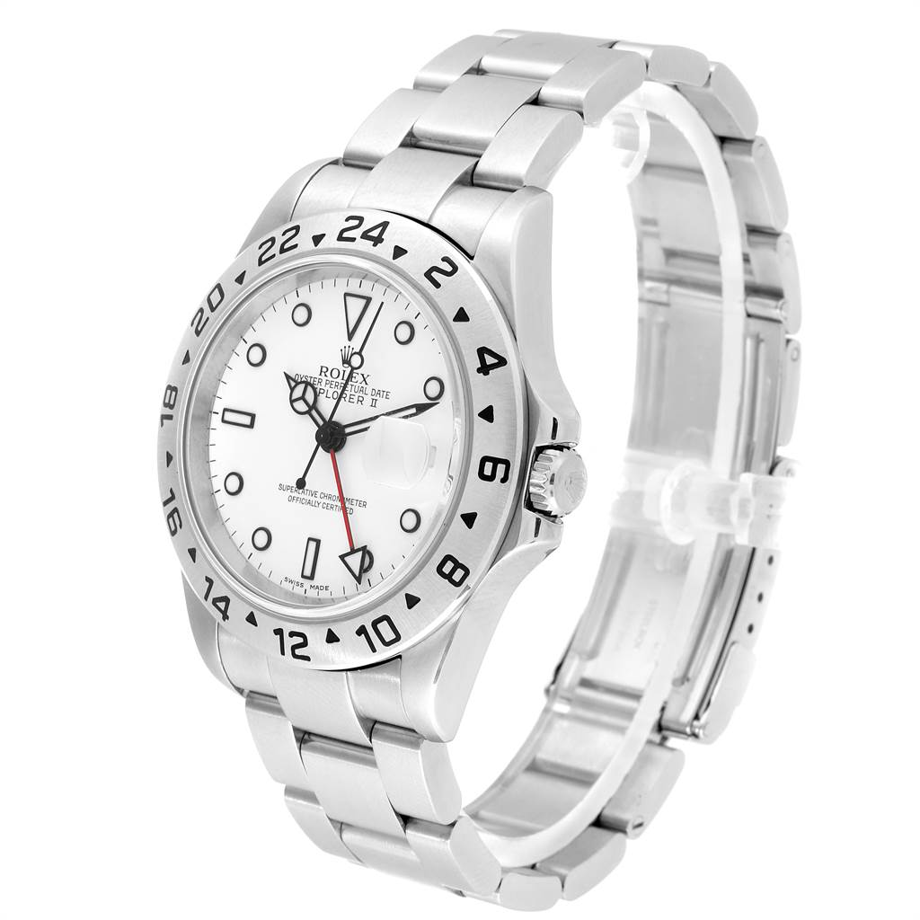 23456 Rolex Explorer II White Dial Red Hand Steel Mens Watch 16570 Box Papers SwissWatchExpo
