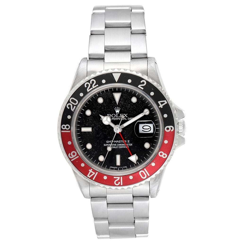 Rolex GMT Master Fat Lady Vintage Coke Black Red Bezel Mens Watch 16760 SwissWatchExpo
