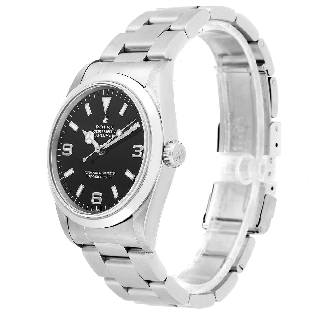 23492 Rolex Explorer I 36 Black Dial Oyster Bracelet Steel Mens Watch 14270 SwissWatchExpo