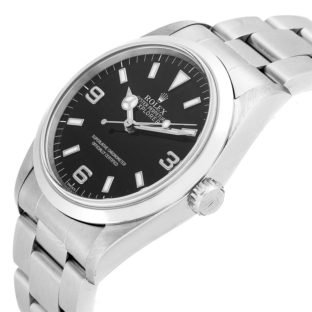 Rolex Explorer I 36 Black Dial Oyster Bracelet Steel Mens Watch 14270 SwissWatchExpo