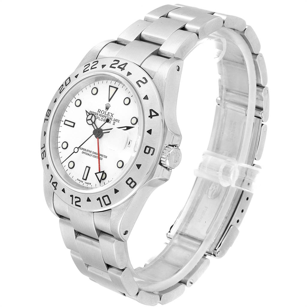 23754 Rolex Explorer II White Dial Red Hand Steel Mens Watch 16570 Box Papers SwissWatchExpo