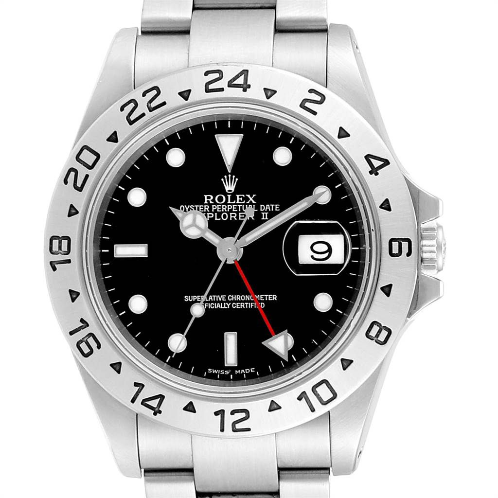23579 Rolex Explorer II 40 Black Dial Red Hand Automatic Mens Watch 16570 SwissWatchExpo
