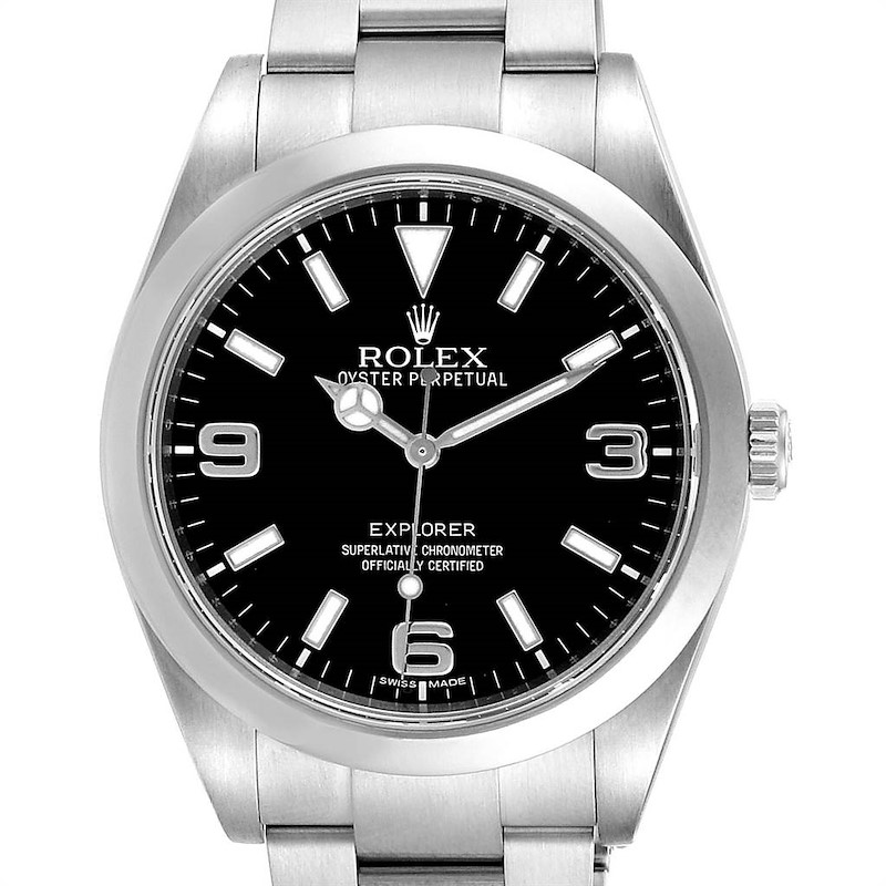 Rolex Explorer I 39 Stainless Steel Automatic Mens Watch 214270 SwissWatchExpo