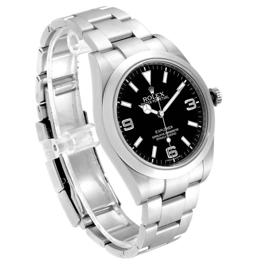 23787 Rolex Explorer I 39 Stainless Steel Automatic Mens Watch 214270 SwissWatchExpo