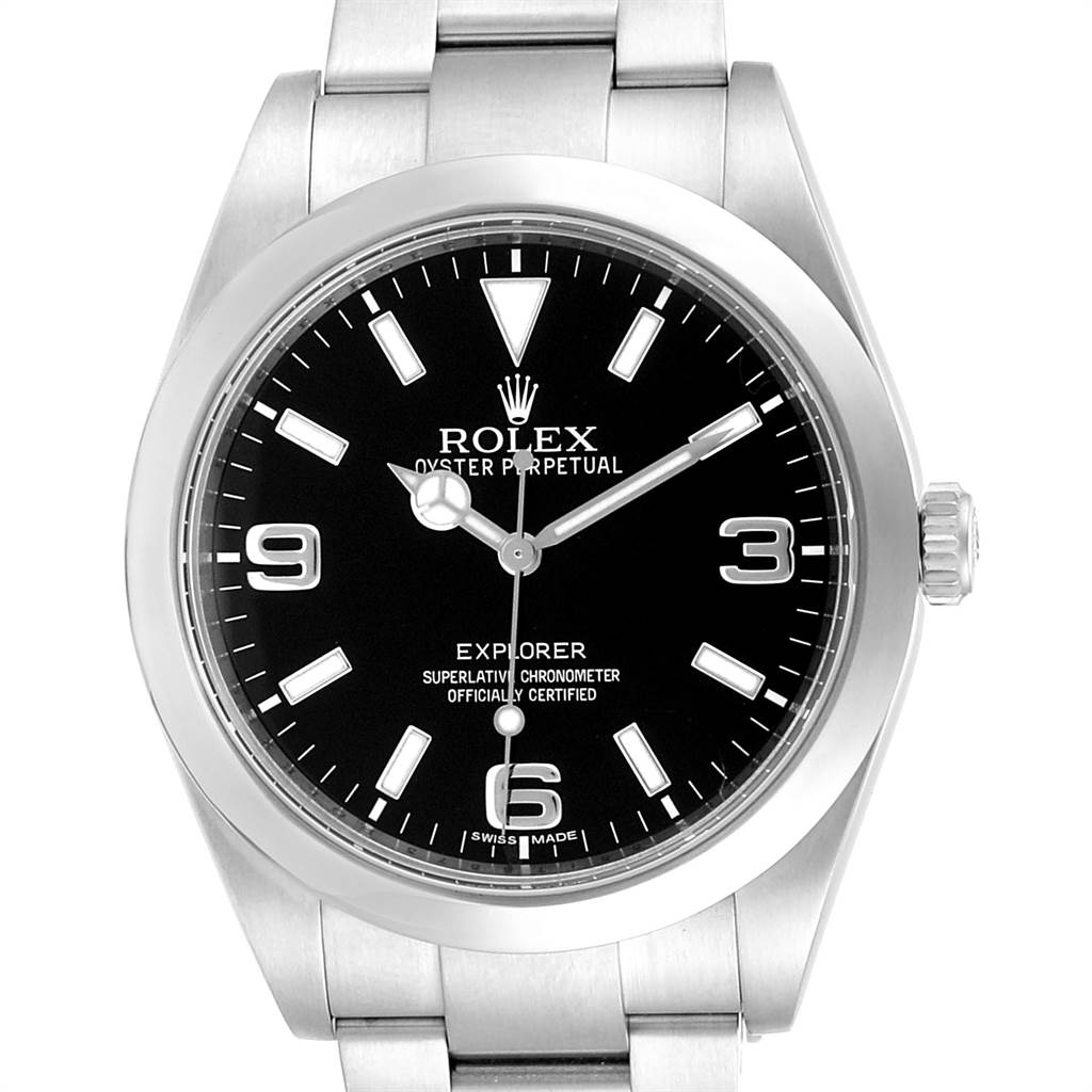 23783 Rolex Explorer I 39mm Black Dial Steel Automatic Mens Watch 214270 SwissWatchExpo