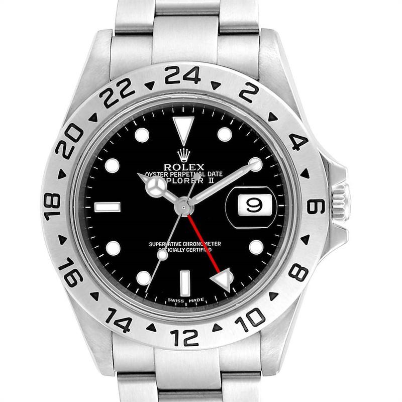 Rolex Explorer II Black Dial Red Hand Parachrom Hairspring Mens Watch 16570 SwissWatchExpo