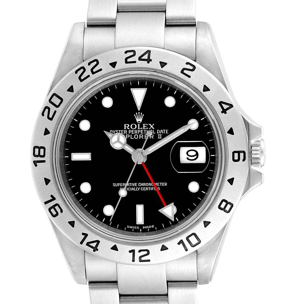 Rolex Explorer II Black Dial Red Hand Parachrom Hairspring Mens Watch 16570 SwissWatchExpo