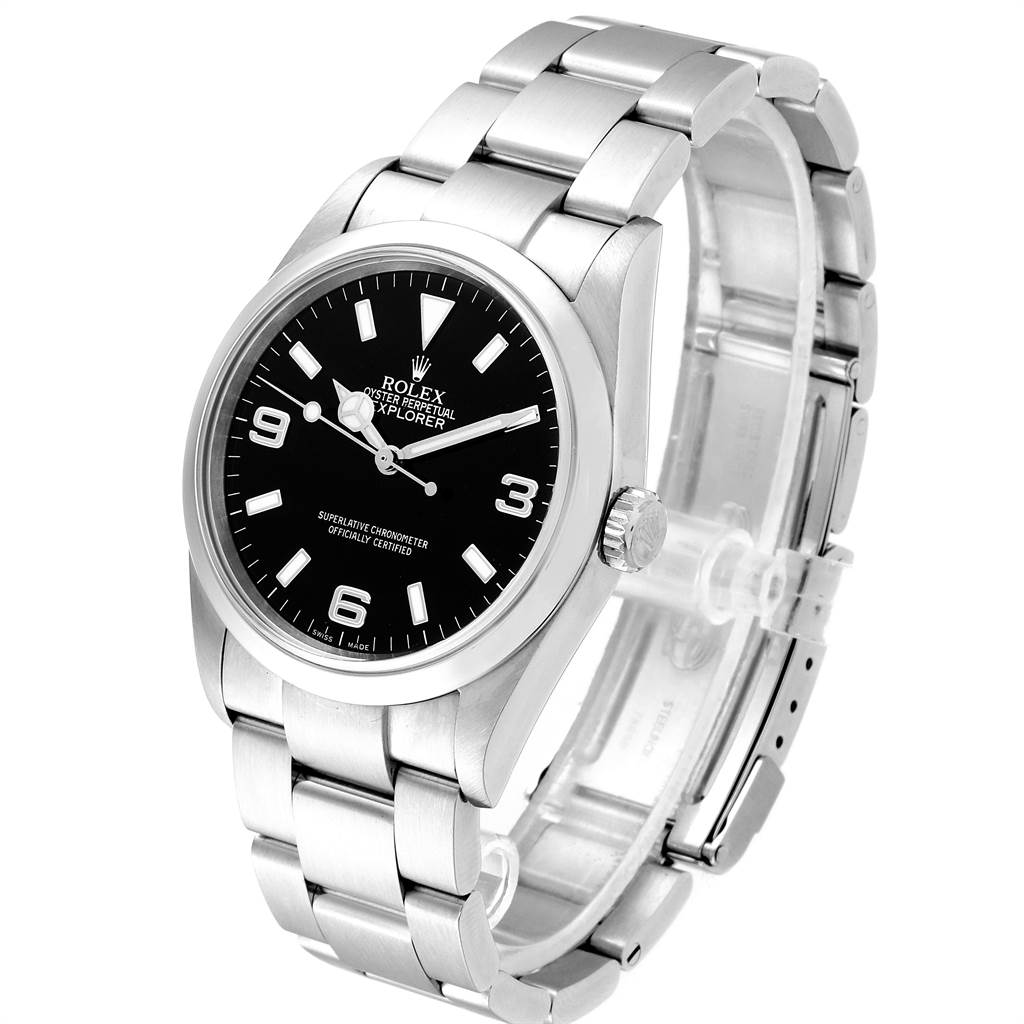 23491 Rolex Explorer I Black Dial Domed Bezel Steel Mens Watch 114270 SwissWatchExpo