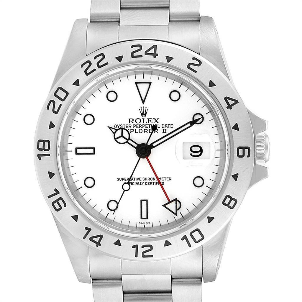 23526 Rolex Explorer II White Dial Red Hand Steel Mens Watch 16570 SwissWatchExpo