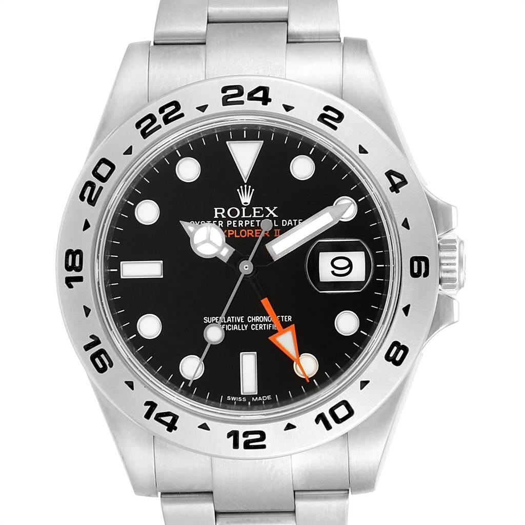 24064 Rolex Explorer II 42mm Black Dial Steel Mens Watch 216570 Box Card SwissWatchExpo
