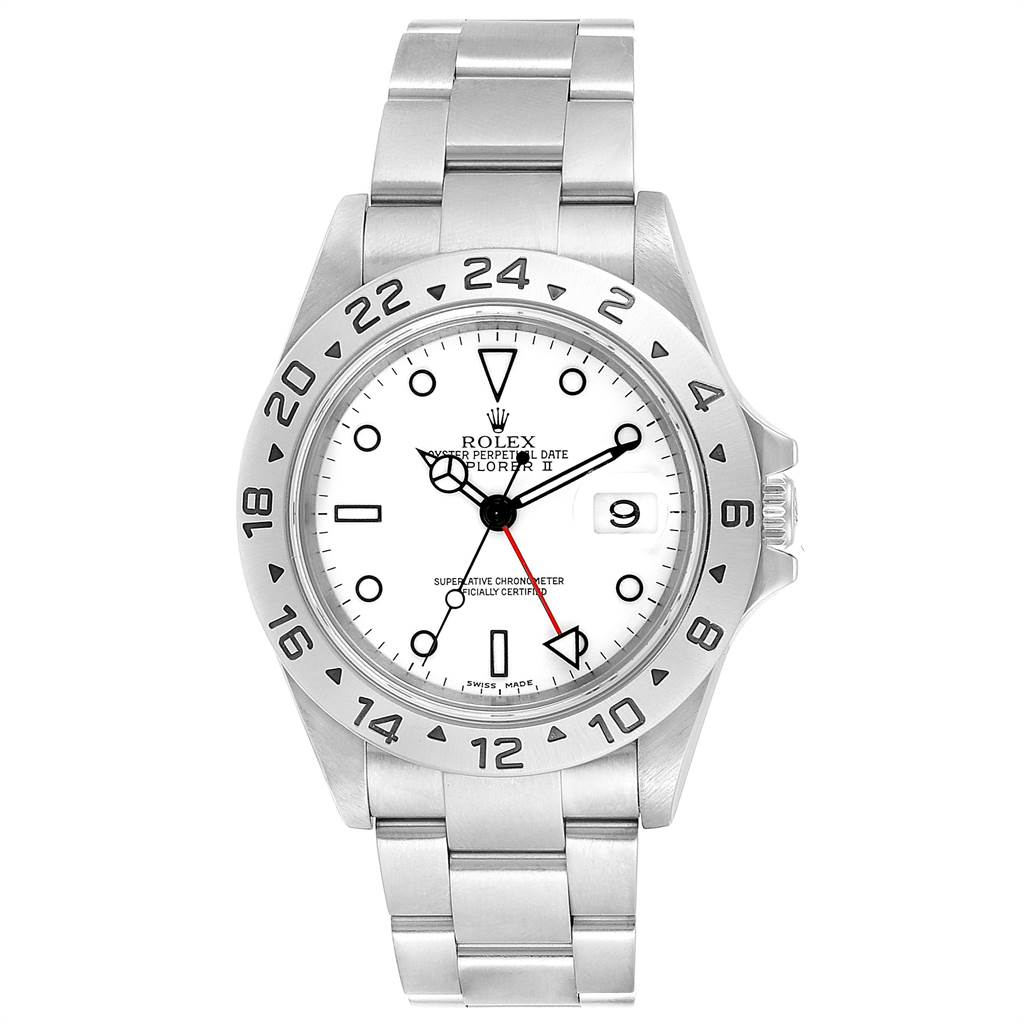 24063 Rolex Explorer II White Dial Red Hand Steel Mens Watch 16570 SwissWatchExpo