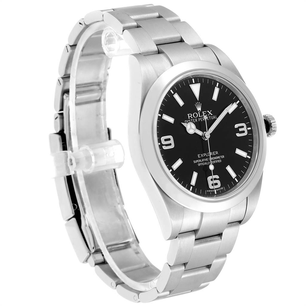 24005 Rolex Explorer I 39mm Black Dial Oyster Bezel Steel Mens Watch 214270 SwissWatchExpo