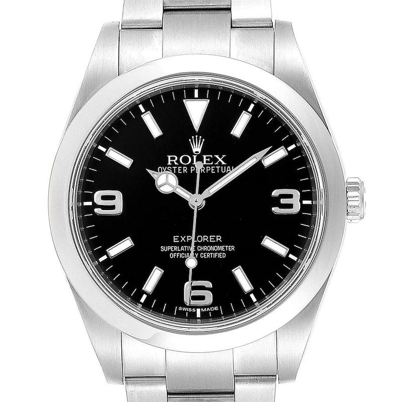 Rolex Explorer I 39mm Black Dial Oyster Bezel Steel Mens Watch 214270 SwissWatchExpo