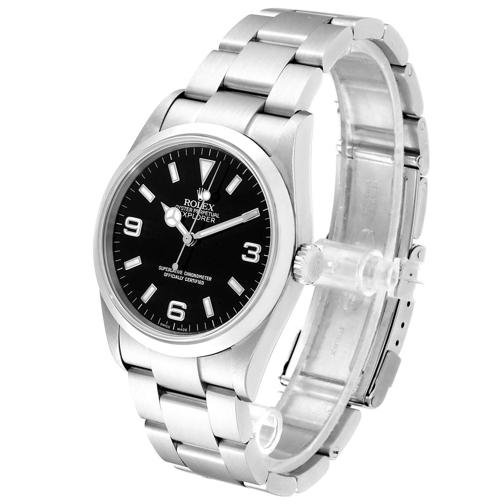 23496 Rolex Explorer I 36 Black Dial Oyster Bracelet Steel Mens Watch 114270 SwissWatchExpo